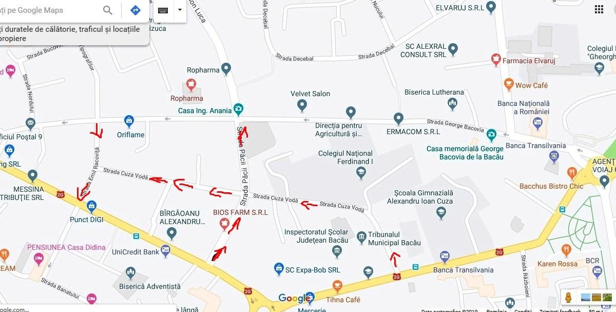 Harta Rutieră A Bacăului Actualizată Cu Noile Străzi Cu Sens Unic